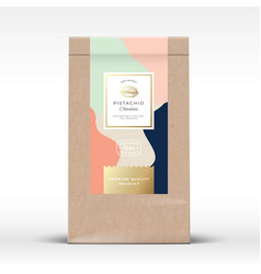 Craft paper bag with pistachios chocolate label vector