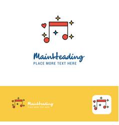 creative love music logo design flat color logo vector image