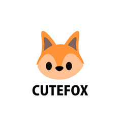 cute fox flat logo icon vector image