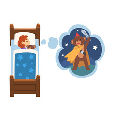 cute girl sleeping in bed and dreaming about bear vector image
