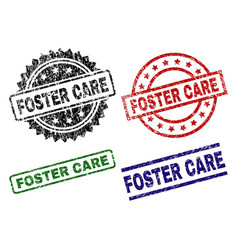 Damaged textured foster care seal stamps vector