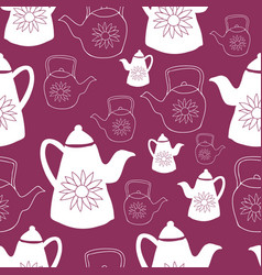 dark red and white teapots seamless pattern design vector image