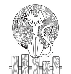 doodle coloring book page cat and moon antistress vector image