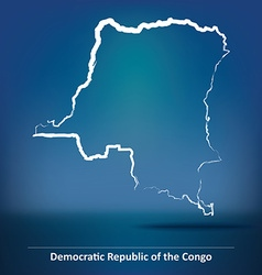 Doodle map of democratic republic of the congo vector