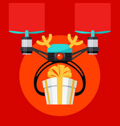 Drone with deer horns and red ball nose gift box vector