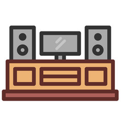entertainment center icon filled line style eps10 vector image