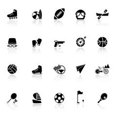 Extreme sport icons with reflect on white vector