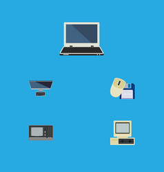 flat icon computer set of computer mouse computer vector image
