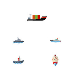 flat icon vessel set of tanker delivery sailboat vector image