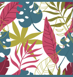 floral trendy seamless pattern with tropical vector image