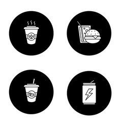 Foods glyph icons set vector