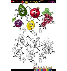 funny fruits cartoon coloring page vector image
