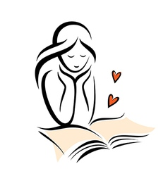 Girl and book vector
