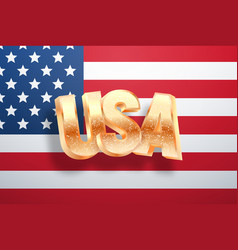 Golden usa word on national flag united states vector