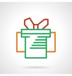 Green box with red bow simple line icon vector image