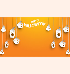 halloween background with pumpkin in paper art vector image