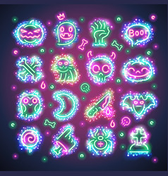 halloween icons with sparkles vector image