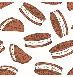 hand drawn seamless pattern with chocolate cookies vector image vector image