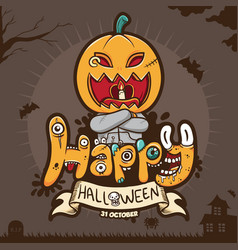 happy halloween greeting with scary pumpkin vector image
