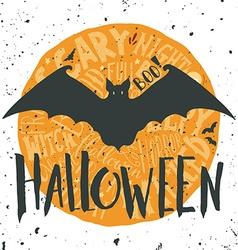 Happy halloween grunge emblem with a bat vector
