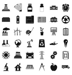 industrial company icons set simple style vector image