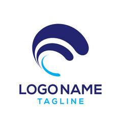 initial f letter blue logo design vector image