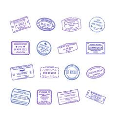 International travel visa stamps set vector