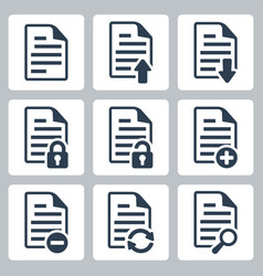 isolated document icons set vector image