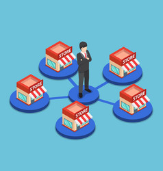 isometric businessman standing with shopping vector image