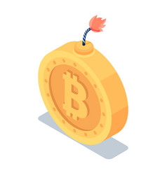 isometric golden bitcoin with burning fuse vector image