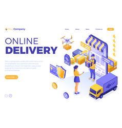 isometric online shopping delivery vector image