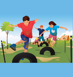 Kids competing in a obstacle running course vector