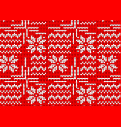 knitted sweater winter pattern red norwegian vector image