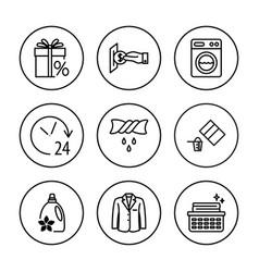laundry clothing care wash icons set universal vector image