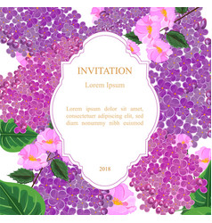 Lilac flowers invitation card vector