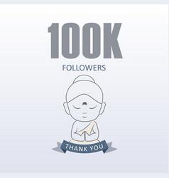 Little monk showing gratitude for 100000 followers vector