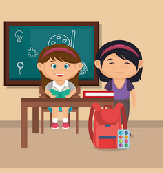 little school girls with education supplies vector image