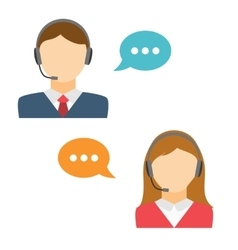 Male and Female Call Center Avatar vector