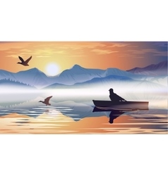 Man floating in a boat on the lake vector
