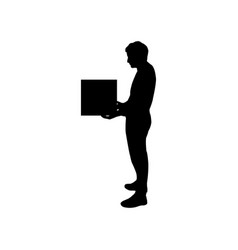 man icon with parcel vector image
