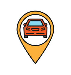 Map pinpoint with car inside color icon vector