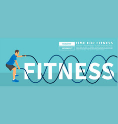 Men with battle rope exercise in the fitness text vector