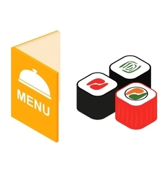 Menu and sushi isometric 3d icon vector