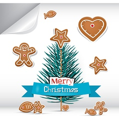 Merry Christmas Background with Gingerbread vector image vector image