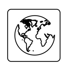 Monochrome contour square with map of the world vector