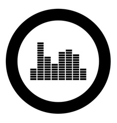 music equalizer black icon in circle vector image