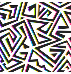 neon geometric seamless pattern with grunge effect vector image