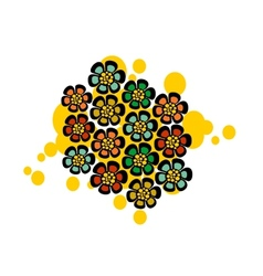 Pattern with strange floral balls vector