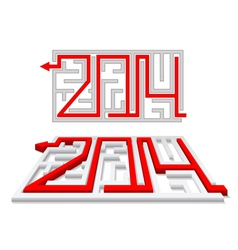 Red arrow in the labyrinth as a number 2014 vector image