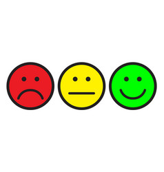 Red yellow and green smileys vector